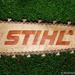 Stihl chain saw logo made through wood carving