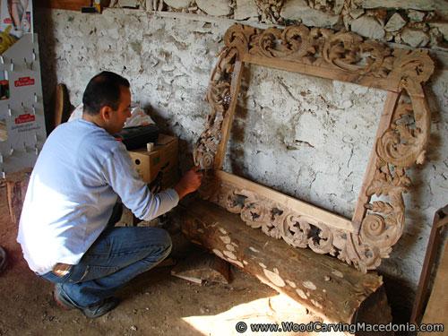 Woodcarver ogledalo farbanje wood carving macedonia