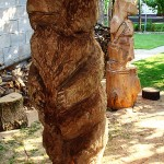 Wooden bear made through chainsaw wood carving