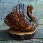 Black swan (right side) - chainsaw wood carving