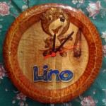 Lino logo clock (Cokolino - Podravka) - wood carving