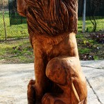 Lion wooden sculpture (side) - chainsaw wood carving