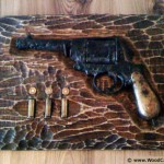 Pistol and bullets - hunting trophy (restauration) - wood carving
