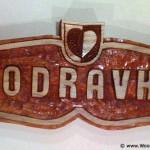 Podravka logo (company from Croatia / Hrvatska) - wood carving