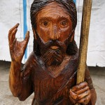 Saint John The Baptist sculpture (head) - chainsaw wood carving
