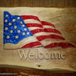 United States of America flag - wood carving