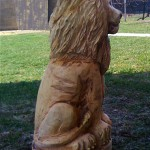 White lion (right side) - chainsaw wood carving