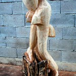 Dolphins in flame - wooden sculpture (photo 1)
