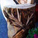 Wooden bench - deer (side) - chainsaw carving
